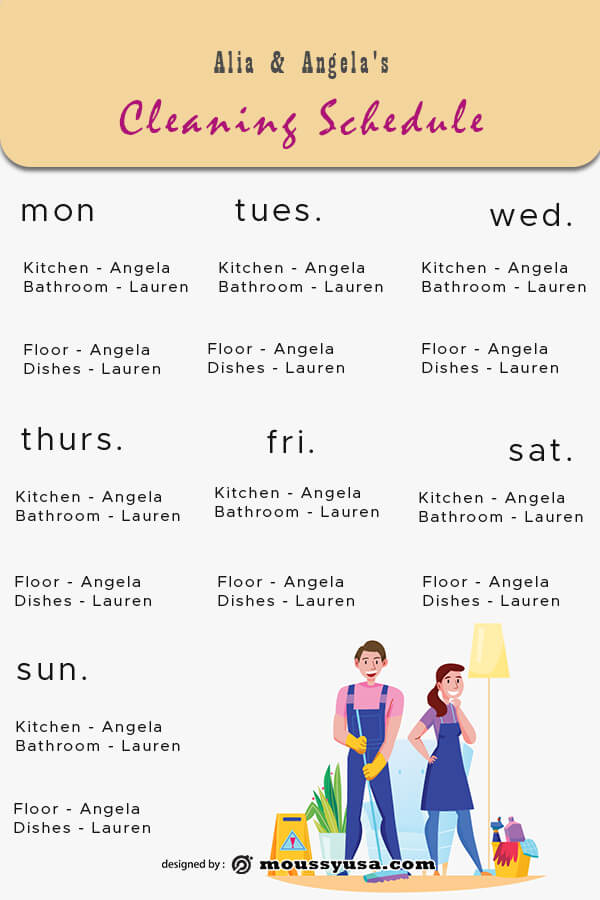 Cleaning Schedule template free psd