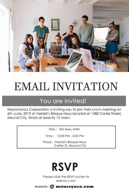 Email Invitation customizable psd design template