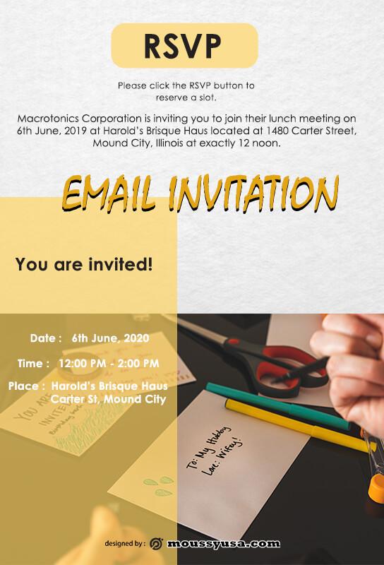 Email Invitation example psd design