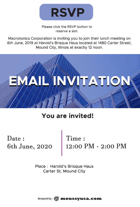 Email Invitation free psd template