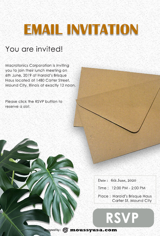 Email Invitation in photoshop