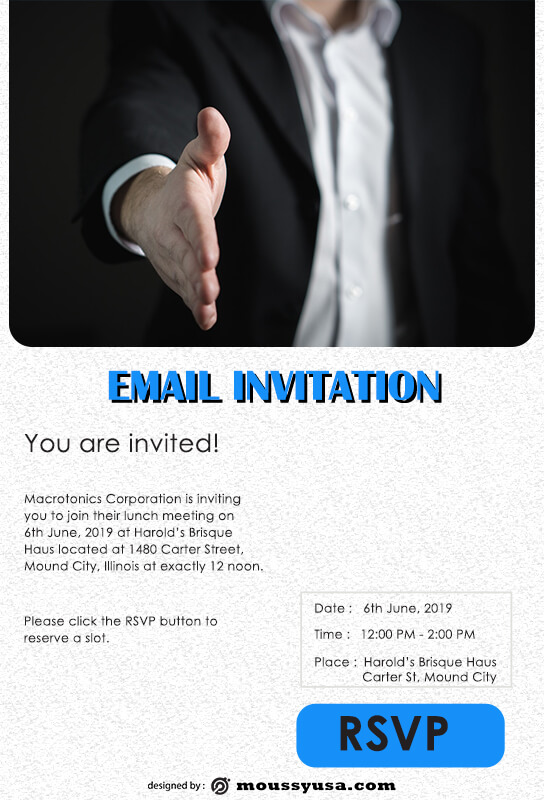 Email Invitation psd template free