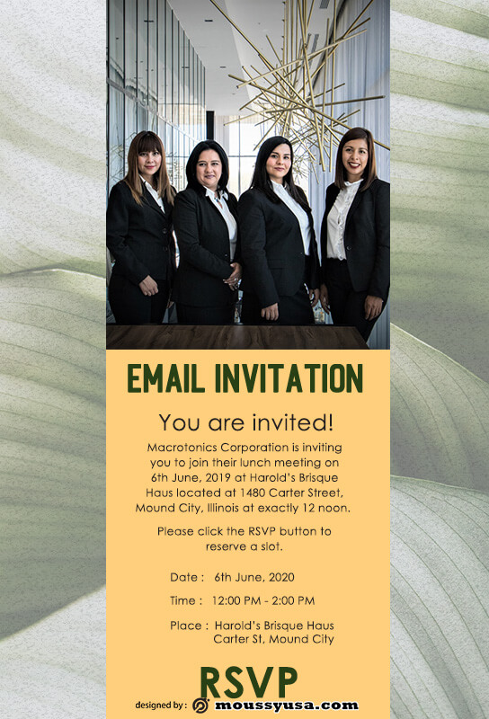 Email Invitation template for photoshop