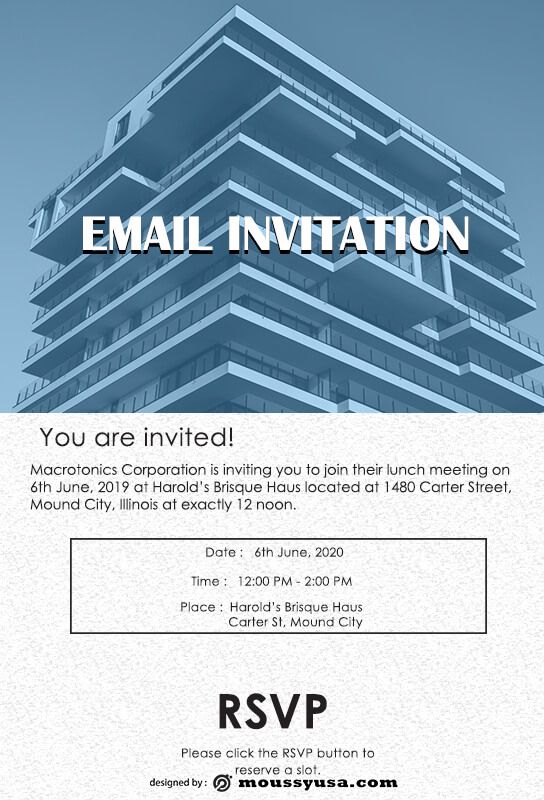 Email Invitation template free psd