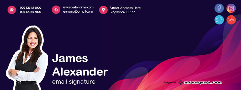 Email Signature free psd template