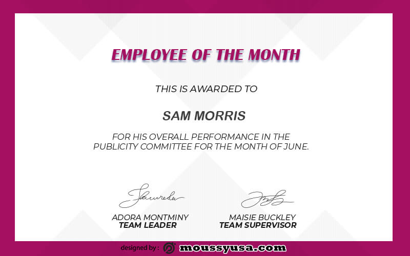 Employee of the Month templates psd