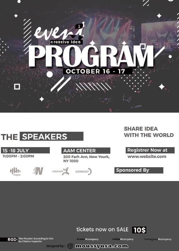 Event Program template free psd