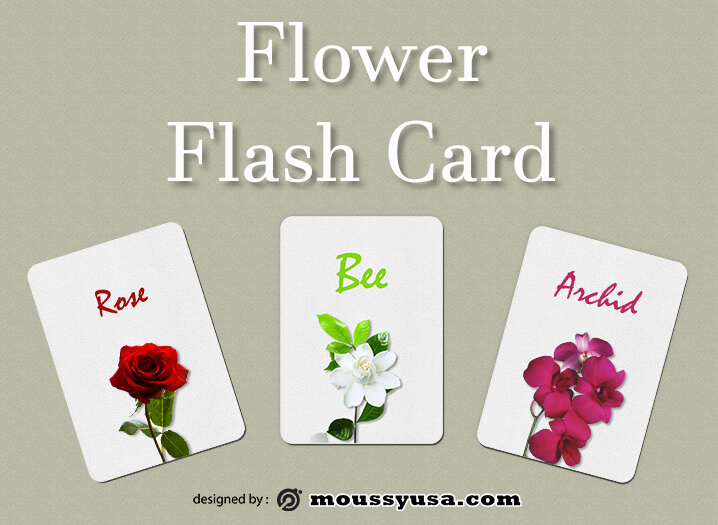 Flash Card customizable psd design template
