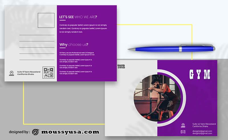 GYM Postcard templates Example