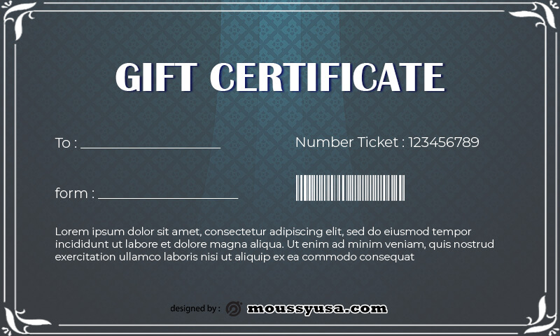 Gift Certificate Template template for photoshop