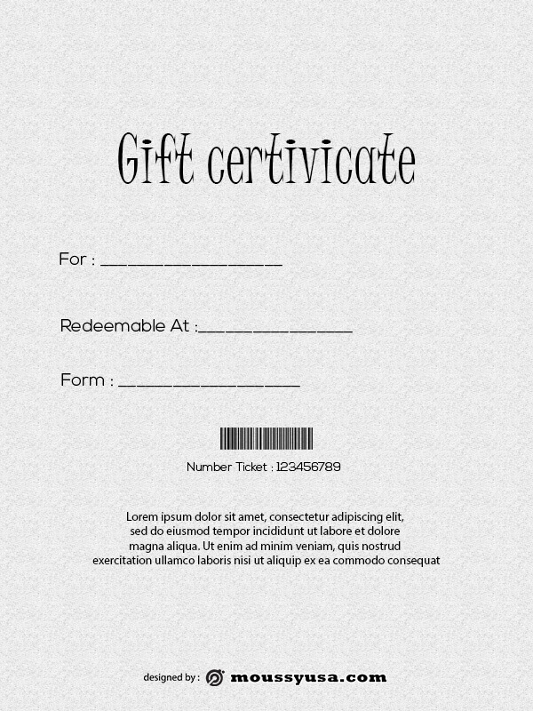 Gift Certificate in photoshop free download