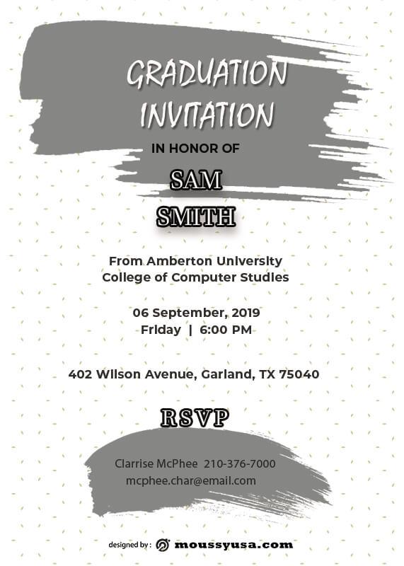 Graduation Invitation customizable psd design template