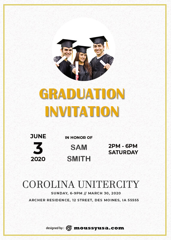 Graduation Invitation free psd template