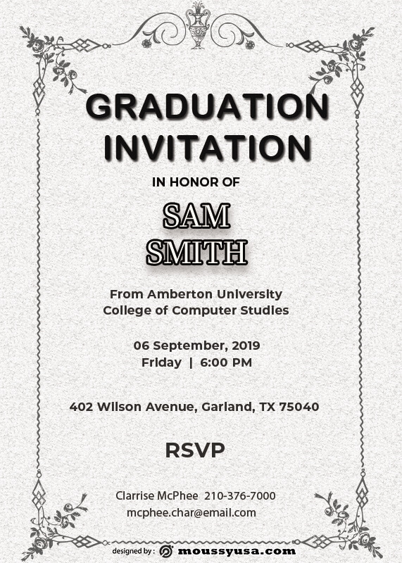 Graduation Invitation in psd design