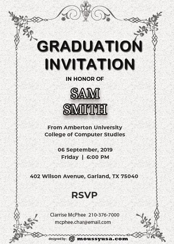 Graduation Invitation in psd design