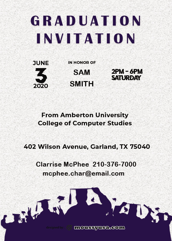 Graduation Invitation template for photoshop