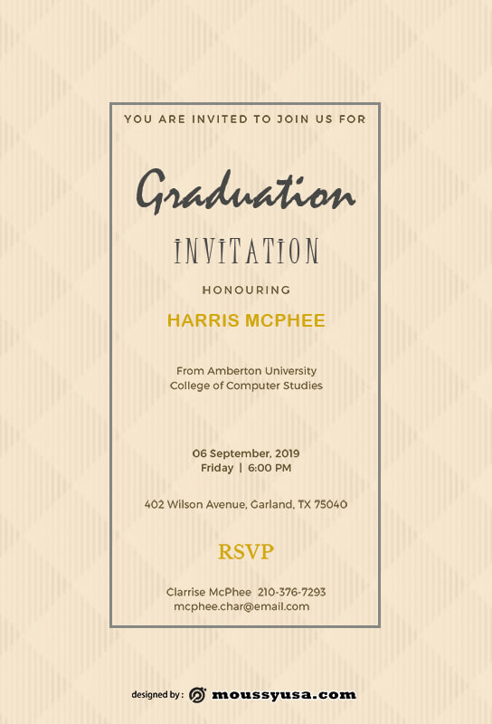 Graduation Invitation template free psd