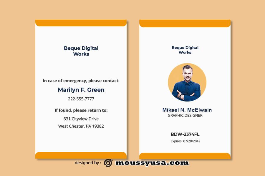 ID Card customizable psd design template