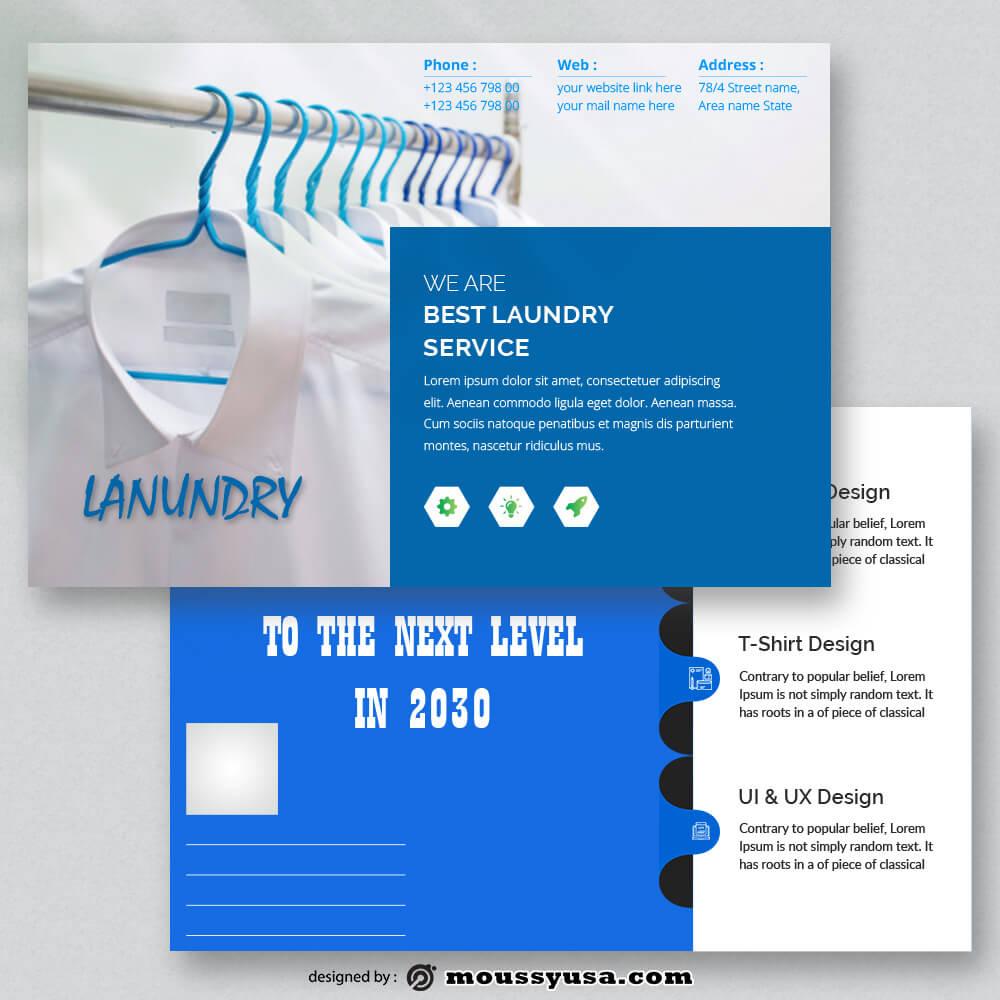 Laundry Postcard Design PSD