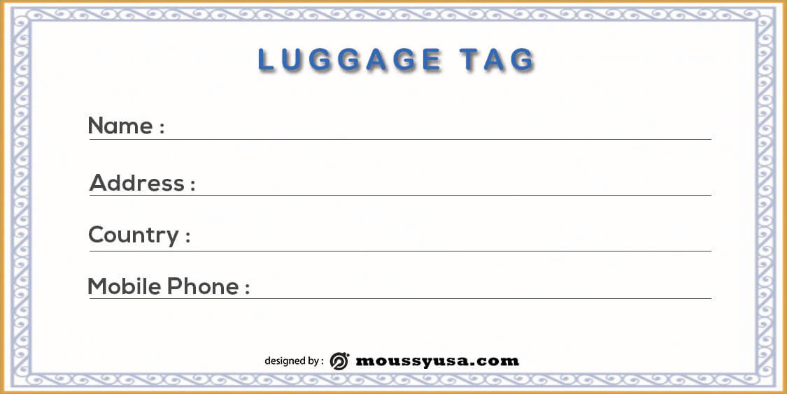 Luggage tag example psd design