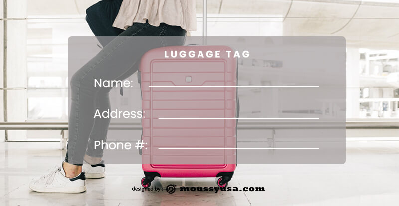 Luggage tag free psd template