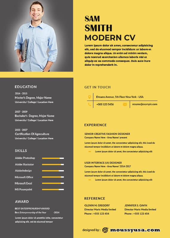 Modern CV customizable psd design template