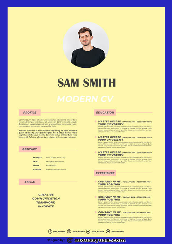Modern CV free download psd