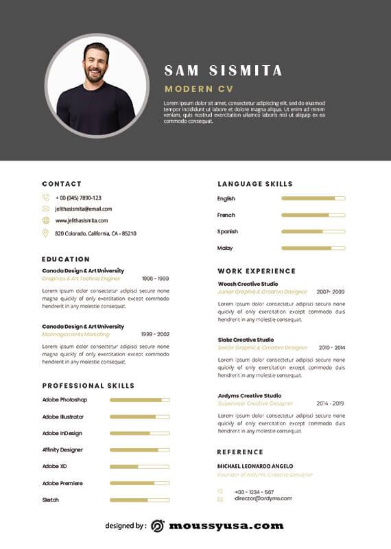Modern CV free psd template