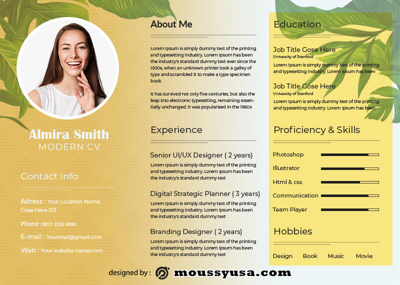 Modern CV in photoshop free download