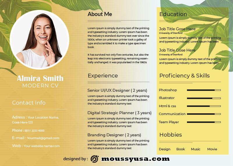 Modern CV in photoshop free download