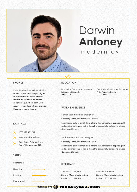 Modern CV in photoshop