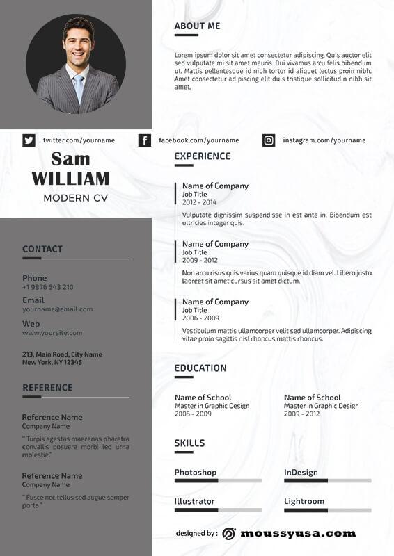 Modern CV in psd design