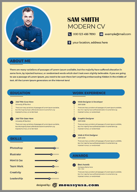 Modern CV template for photoshop