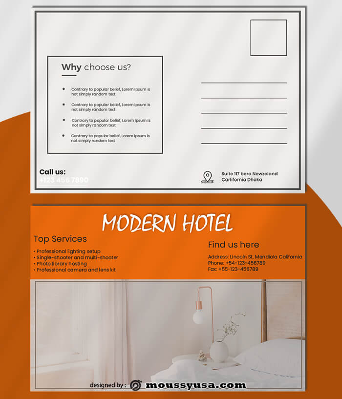 Modern Hotel Postcard templates Design