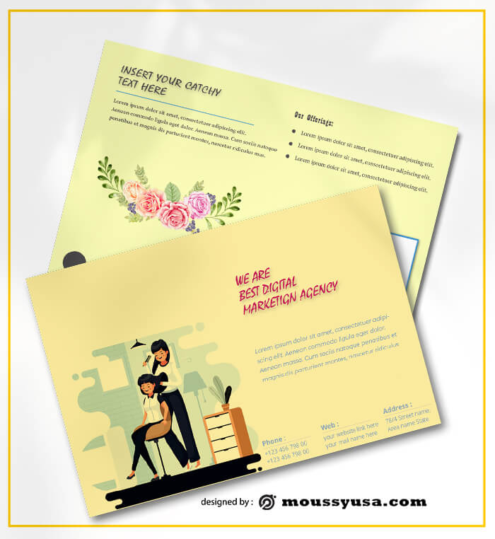 PSD Beauty Parlor Postcard templates