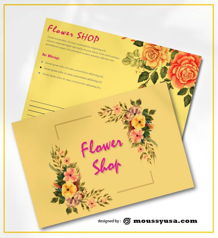 PSD Flower Shop Postcard templates