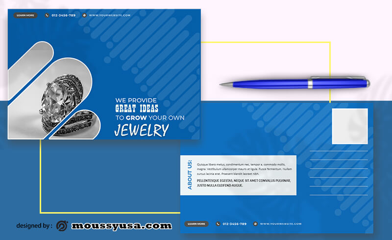 PSD Jewelry Postcard templates