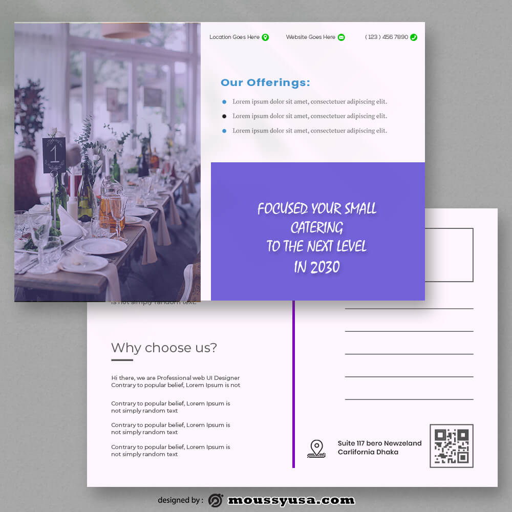 PSD templates For Catering Postcard