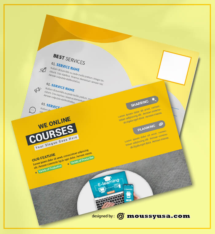 PSD templates For Coursus Postcard