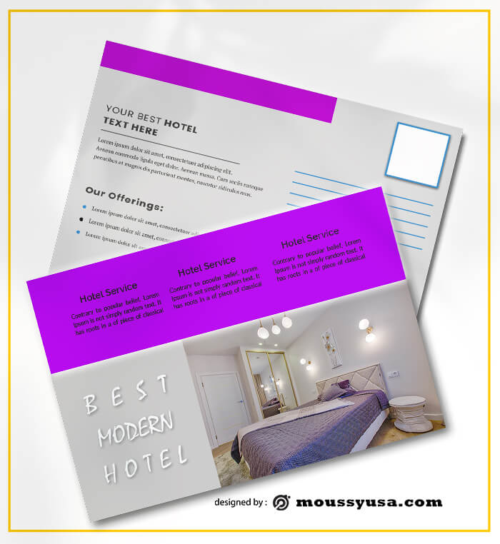 PSD templates For Modern Hotel Postcard