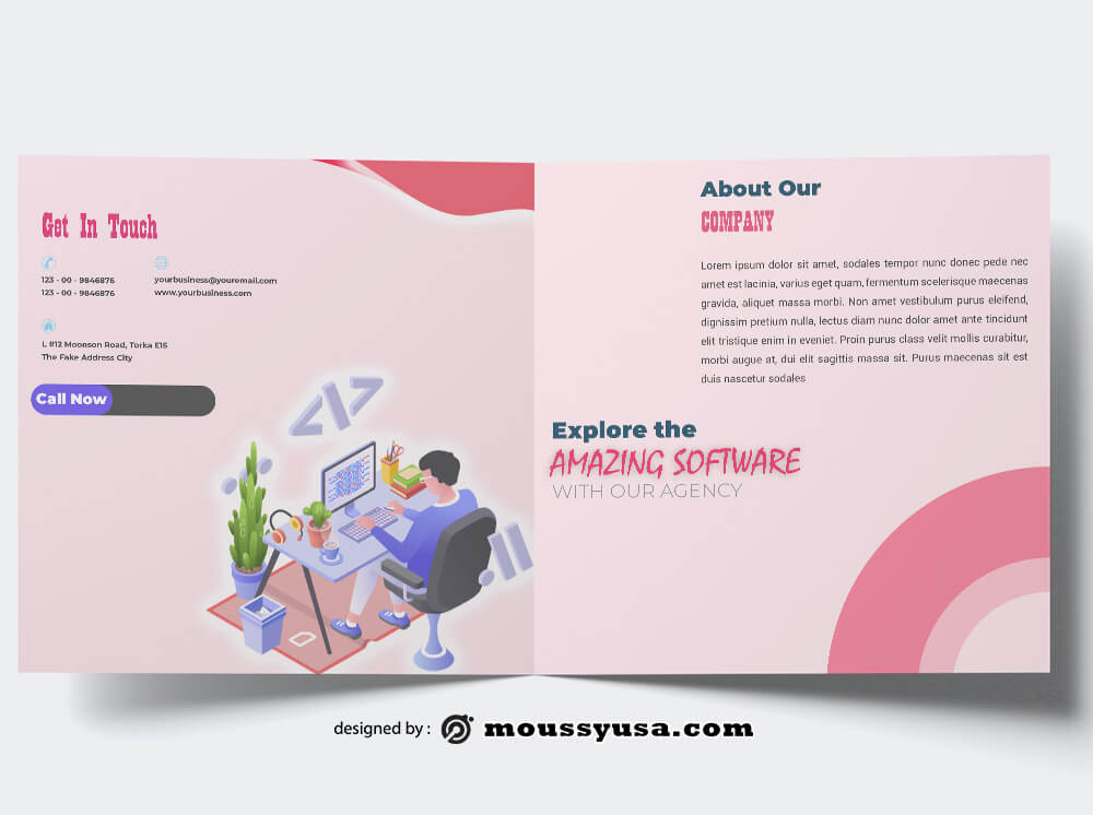 3 Software Company Brochure Free Psd Template Mous Syusa