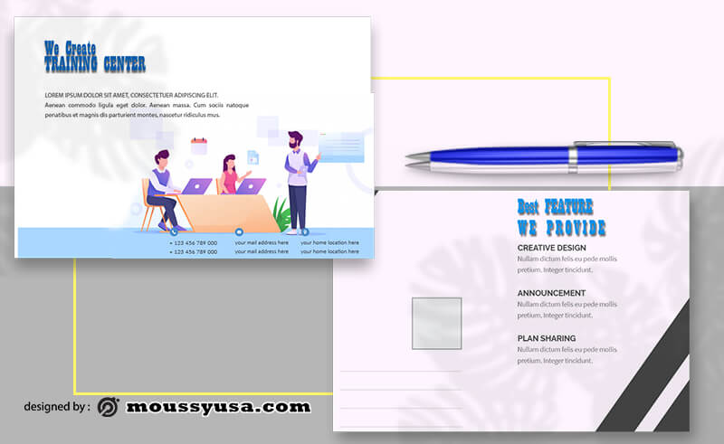 PSD templates For Training Center Postcard