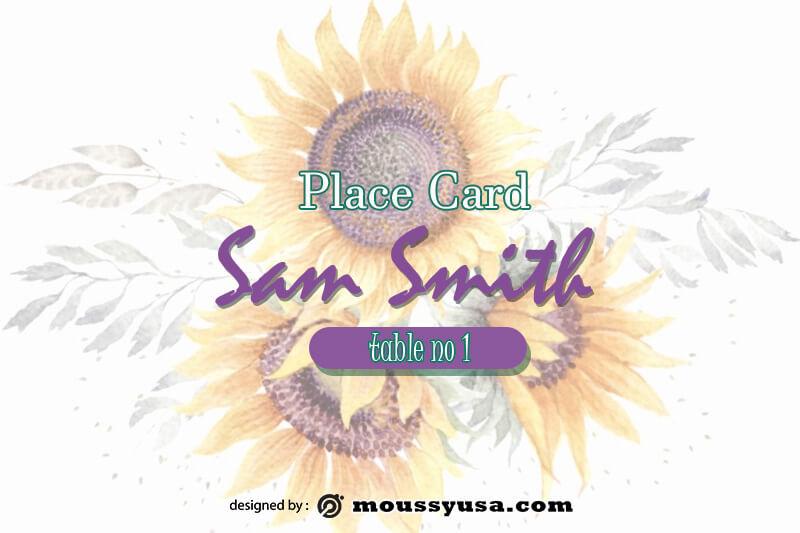 Place Card customizable psd design template