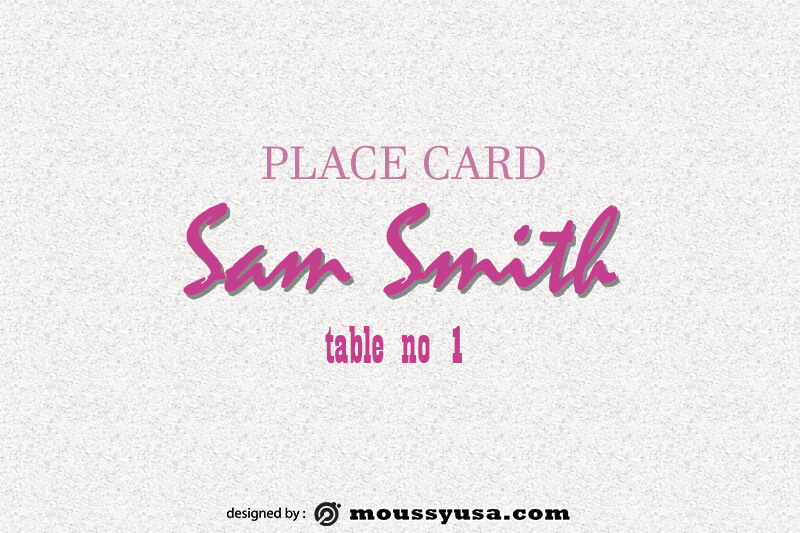 Place Card template for photoshop
