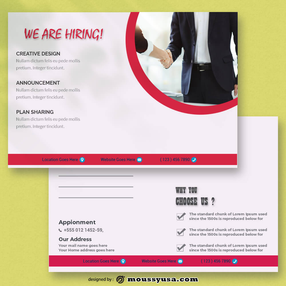 Recruitment Postcard Design PSD