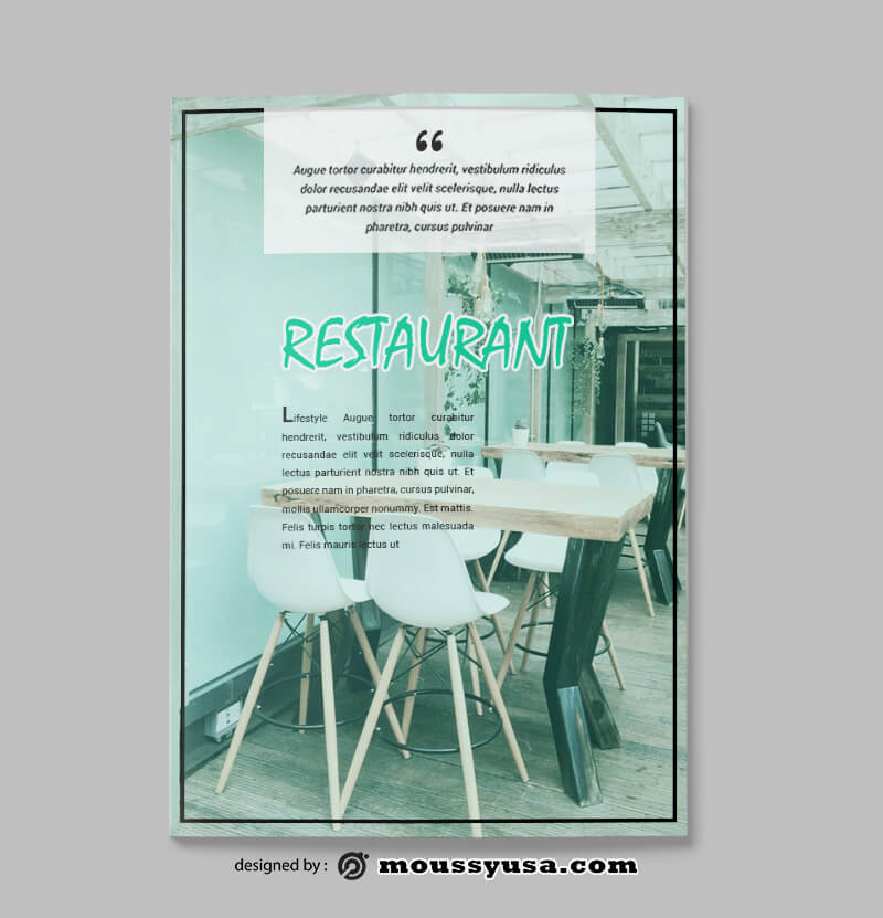 Restaurant Magazine Design PSD