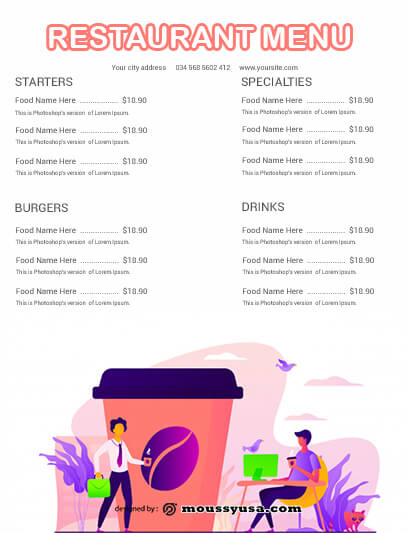 Restaurant Menu customizable psd design template