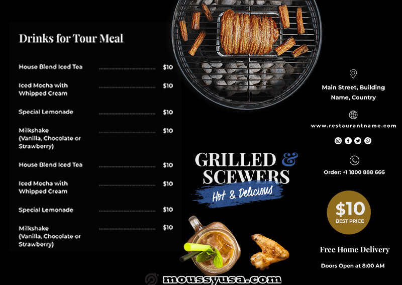 Restaurant Menu example psd design