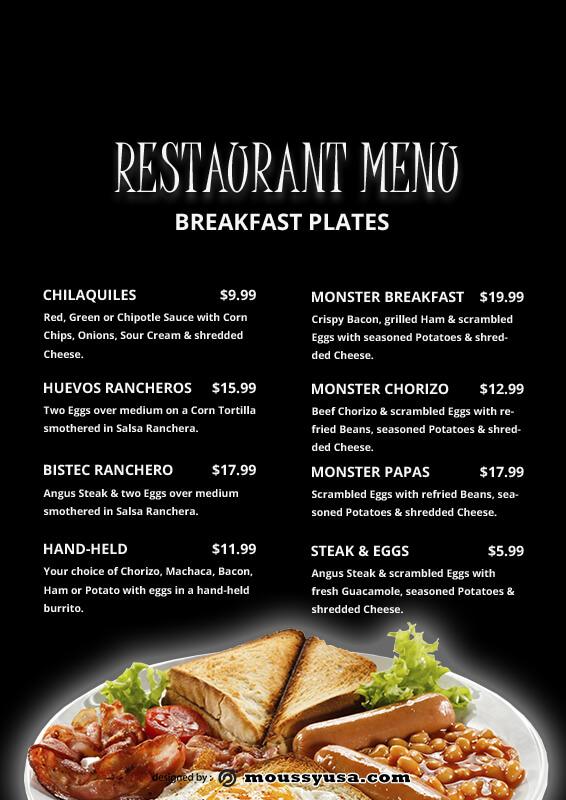 Restaurant Menu in photoshop free download