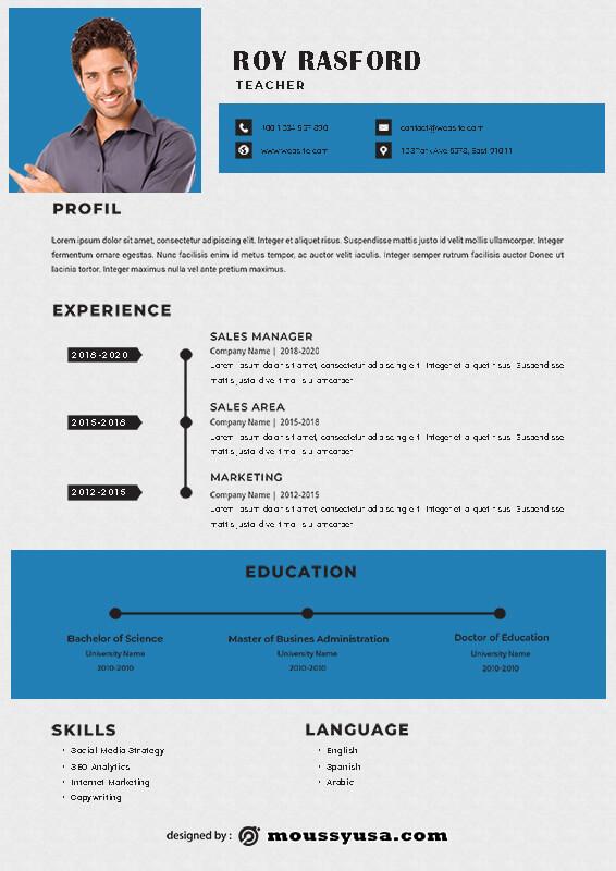 Resume Teacher customizable psd design template